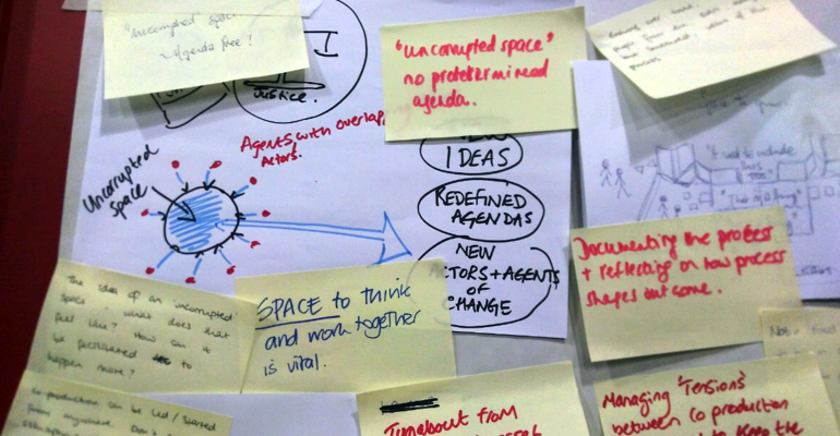 Visualising space for co-production (flipchart with post-it notes)