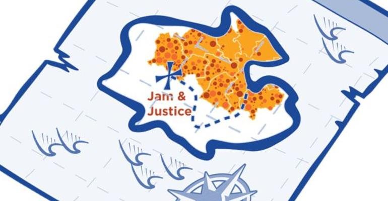 Treasure hunt map overlaid on Jam and Justice GM logo